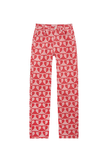 Straight-fit jeans with pink print
