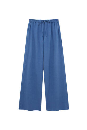Rustic straight-leg trousers with elastic waistband