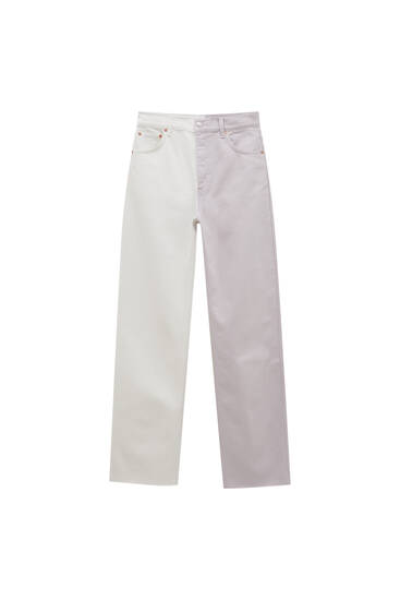 Straight-leg mauve colour block jeans
