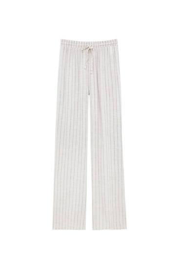 Loose-fitting, rustic striped trousers