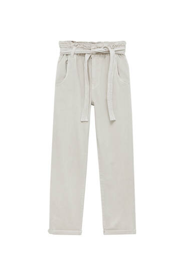 Straight paperbag trousers