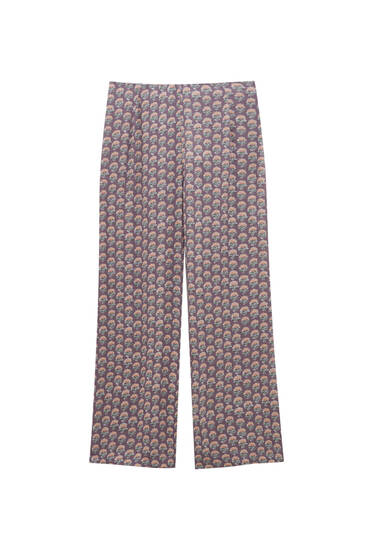 Printed flowing trousers