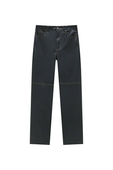 Straight fit faux leather trousers