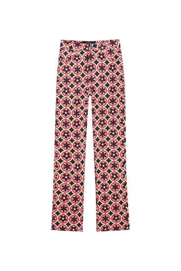 Retro print straight-leg trousers