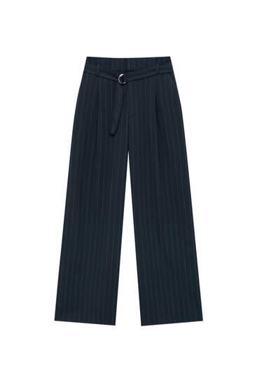 Loose fit paperbag broek met riem