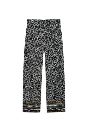 Straight-leg trousers with printed border