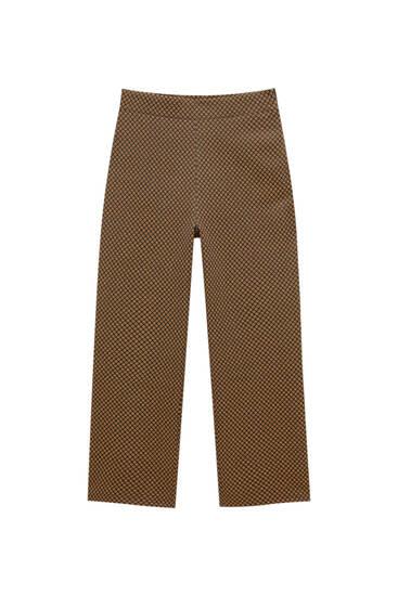 Straight-fit jacquard capri trousers