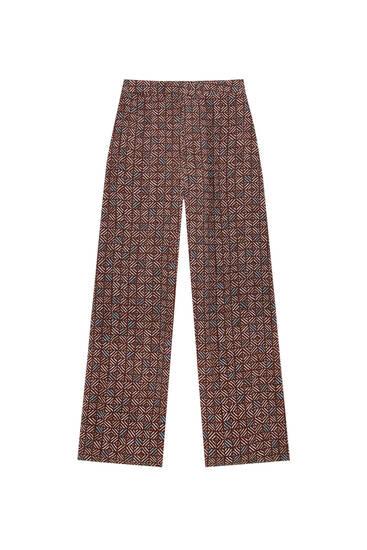 Straight-leg trousers in coloured retro print