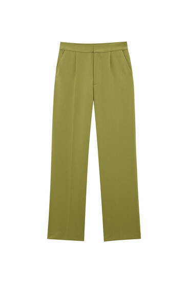 Darted straight fit trousers