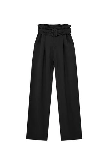 High-waist paperbag trousers with belt