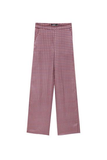 Geometric print flowing trousers