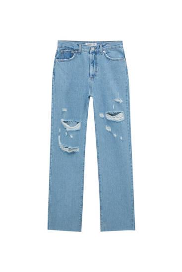 Straight-Leg-Jeans mit hohem Bund und Rissen