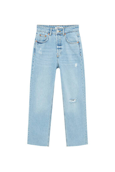 Ripped, cropped, straight jeans