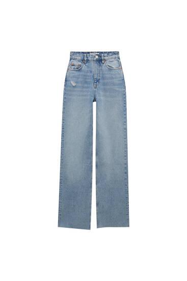 Straight-leg jeans with raw-cut hems