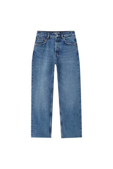 Cropped straight-leg high-waist jeans