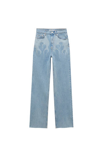 Straight-fit jeans with flame print