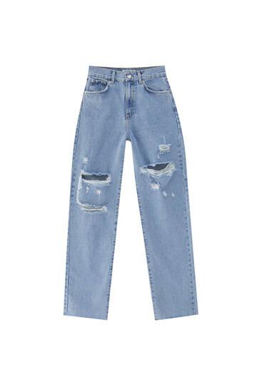 Straight-leg high waist ripped jeans