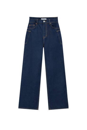 Dark blue high-waist straight-leg jeans