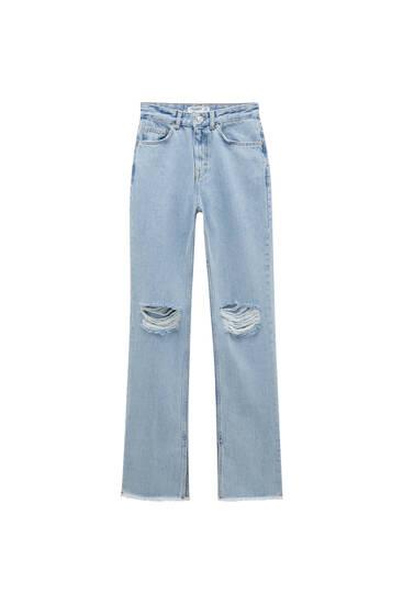 Jeans flare tiro alto aberturas