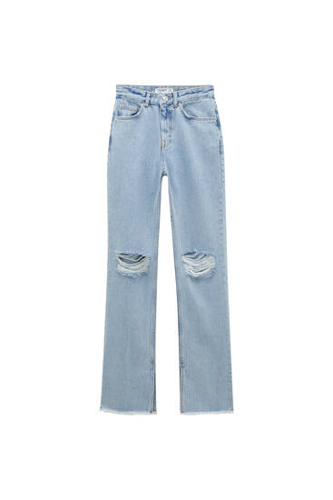 Flared high-waist jeans with vents