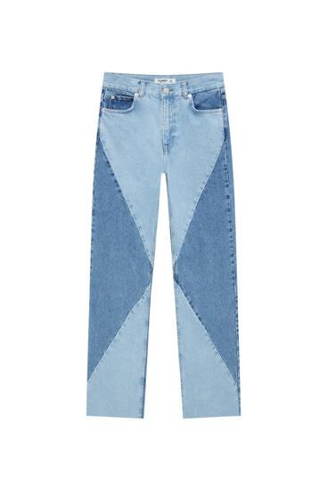 Straight-leg high waist jeans with patchwork design