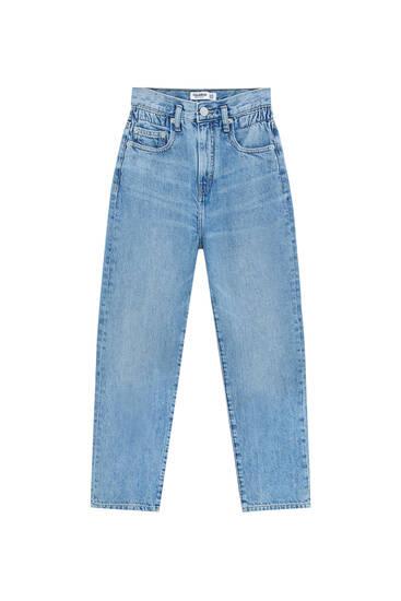 Straight-leg high-waist paperbag jeans
