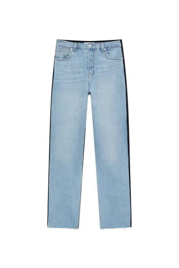 Straight-leg colour block jeans