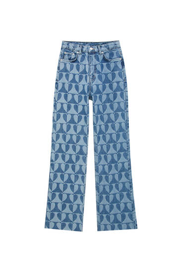 Straight fit jeans with heart print