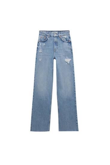 Jeans rectos básicos tiro alto - Algodón orgánico (al menos 50%)
