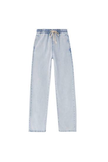Jeans wide leg goma cintura