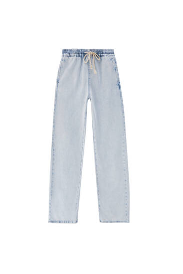 Wide-leg jeans with elastic waistband