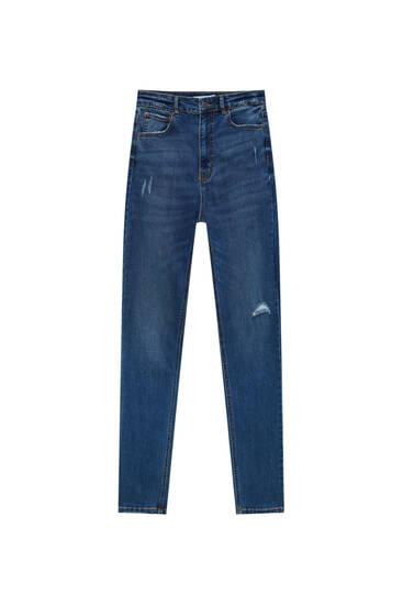 Эластичные джинсы скинни с очень высокой посадкой