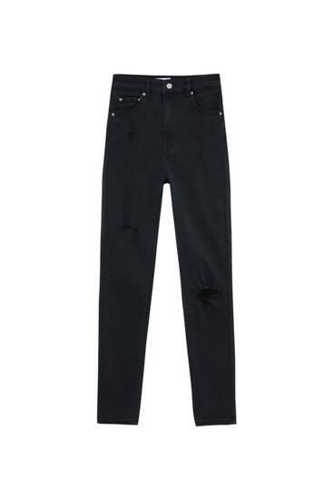 Jean skinny taille très haute élastiqué