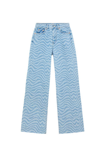 Straight fit jeans with psychedelic print