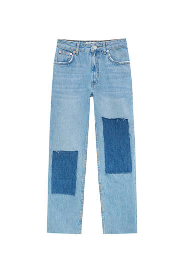 Cropped patchwork jeans