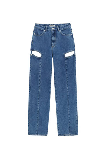 High-waist jeans with cut-out detail