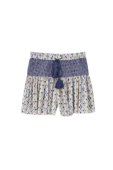 Skort with shirring and drawstrings
