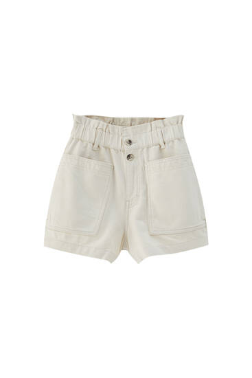 Two-button paperbag shorts