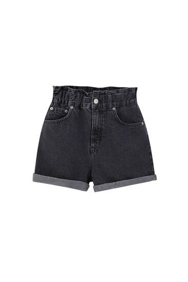 Denim paperbag shorts - ecologically grown cotton (at least 50%)