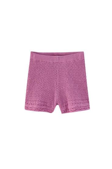 Mauve crochet shorts