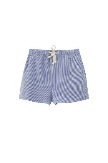 Rustic striped shorts with drawstring