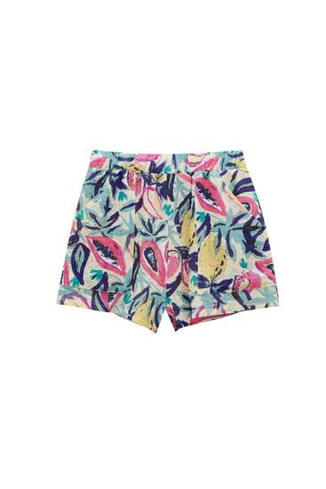 Rustic fabric fruit Bermuda shorts