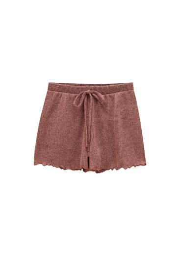 Knit drawstring shorts
