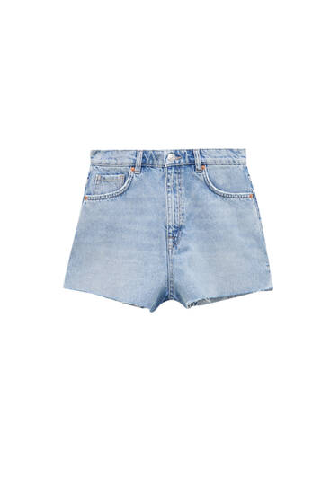 High-waist denim shorts - Contains recycled cotton