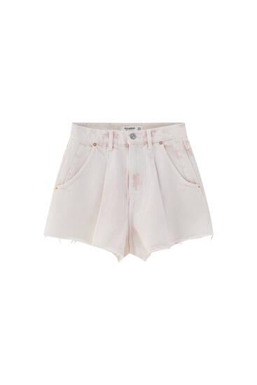 Darted pink denim shorts
