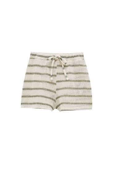 Striped rustic fabric shorts