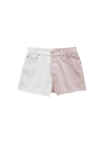 Colour block denim shorts