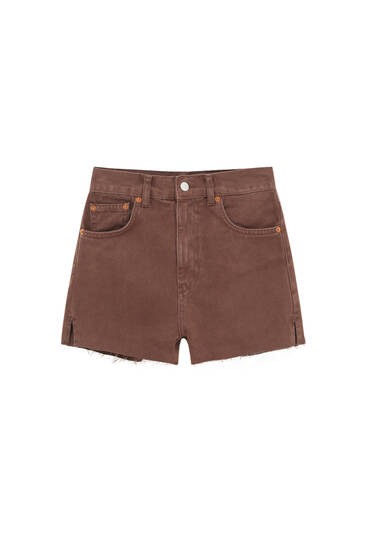 Denim brown shorts with side vents