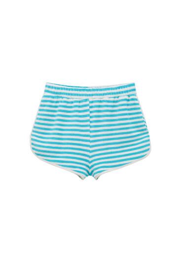 Striped towel fabric shorts
