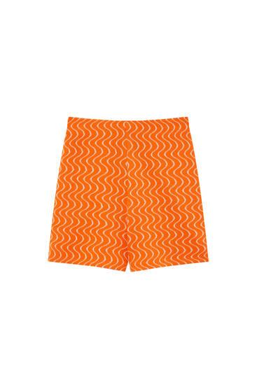Orange wavy print shorts